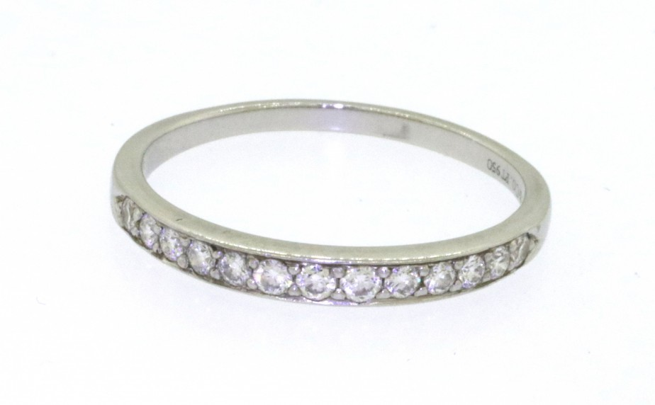 Details About Tiffany Co 950 Platinum 0 32ct Vs1 F Diamond Wedding Band Ring Size 8 75